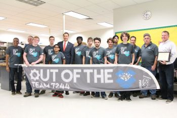 On Sunday November 6, 2016, Congressman Ryan Costello met with the team members of Out of the Box Robotics at the Technical College High School Brandywine, in Downingtown, Pennsylvania. During the meeting Frank McKnight, Principal of the TCHS, was presented with a certificate of appreciation for providing a meeting space for the team. The congressman reviewed and agreed to cosponsor H.R 5168 which authorizes the Treasury to mint coins in memory of Christa McAuliffe. From left to right: Vijay Saini, Team Mentor William Barker, Josh Beauchamp, Brandon Barker, Kavish Saini, Rep. Ryan Costello, Karthik Imayavaramban, Lander Holsinger, George Broadbent, John Colavito, Chiraag Chakravarthy, Chris Lijoi, Team Mentor Andy Moscarelli, Team Mentor Jerry Beauchamp and TCHS Brandywine Principal Frank McKnight.