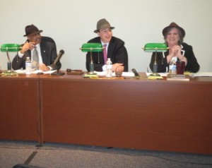 County Commissioners Terence Farrell (from left), Ryan Costello, and Kathi Cozzone show off the fedoras they received at Parkesburg Borough Hall.
