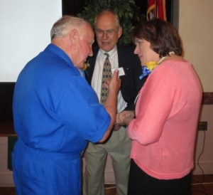 Inaugural Downingtown Alumni Association Hall of Fame members Todd Strong (from left), Richard Whittaker, and Bonnie MacDougal Kistler chat after the ceremony.