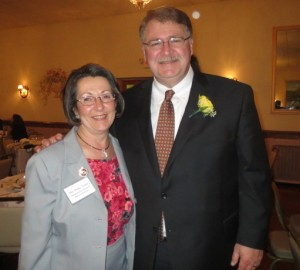 State Rep. Becky Corbin (lelt) poses with former Rep. Curt Schroder, whose  accomplishments were difficult to condense in the nomination she submitted for him..