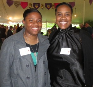 Scholarship winner Aja Thompson (left) poses with Chaya Scott, who heads the Coatesville Youth Initiative.