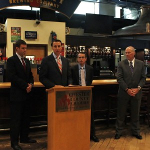 Ryan Costello addresses the small gathering at Victory Brewing.