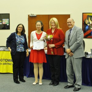"""East's Victoria Pan receives The Gold Key award for her poem """"Life is a School Day""""."""